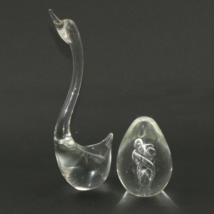 Murano Glass Swan Figurine and Paperweight