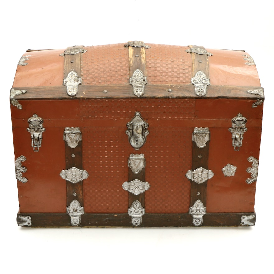 Late Victorian Wood and Metal Dome Top Steamer Trunk with Embossed Fixtures