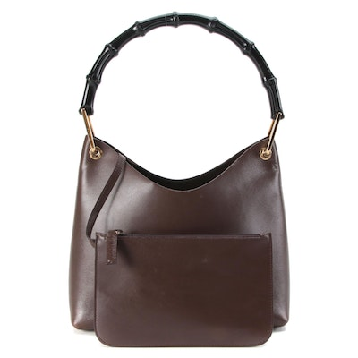 Gucci Smooth Brown Leather Black Bamboo Handle Handbag with Pochette
