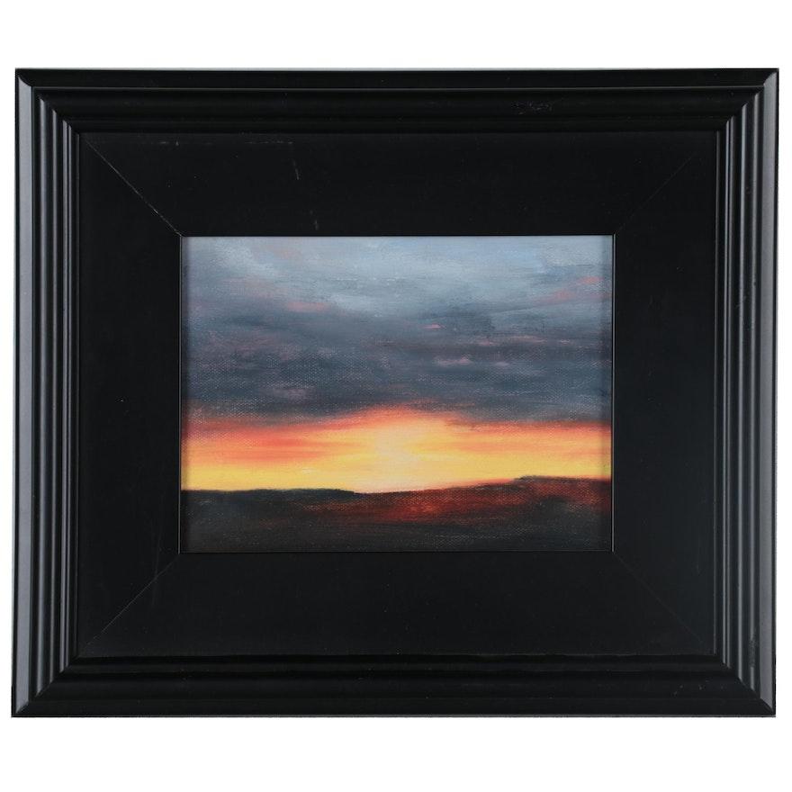 """Suzanna """"Sanna"""" Frank Landscape Oil Painting """"Sunset #6,"""" 2014"""