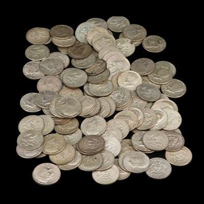 100 Silver Clad Kennedy Half Dollars, Late 1960s