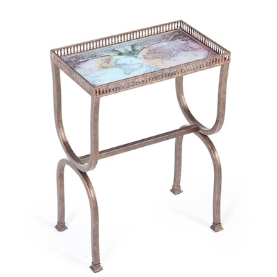 Patinated Metal and Glass Top Side Table with World Map after Joanne Blaeu