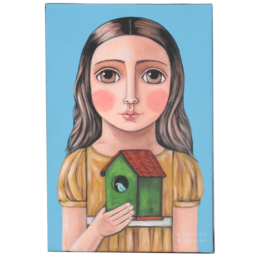 Claudia García Folk Art Acrylic Painting of Girl with Birdhouse, 21st Century