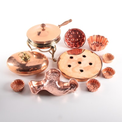 Copper Fondue Pot, Chocolate and Cake Molds with Bed Warmer and More