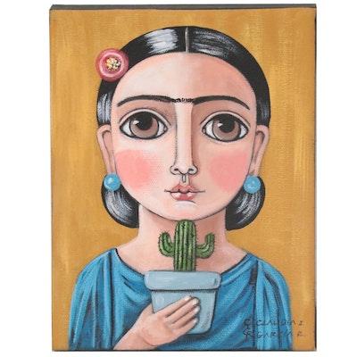 Claudia Garcia Folk Art Acrylic Portrait, 21st Century