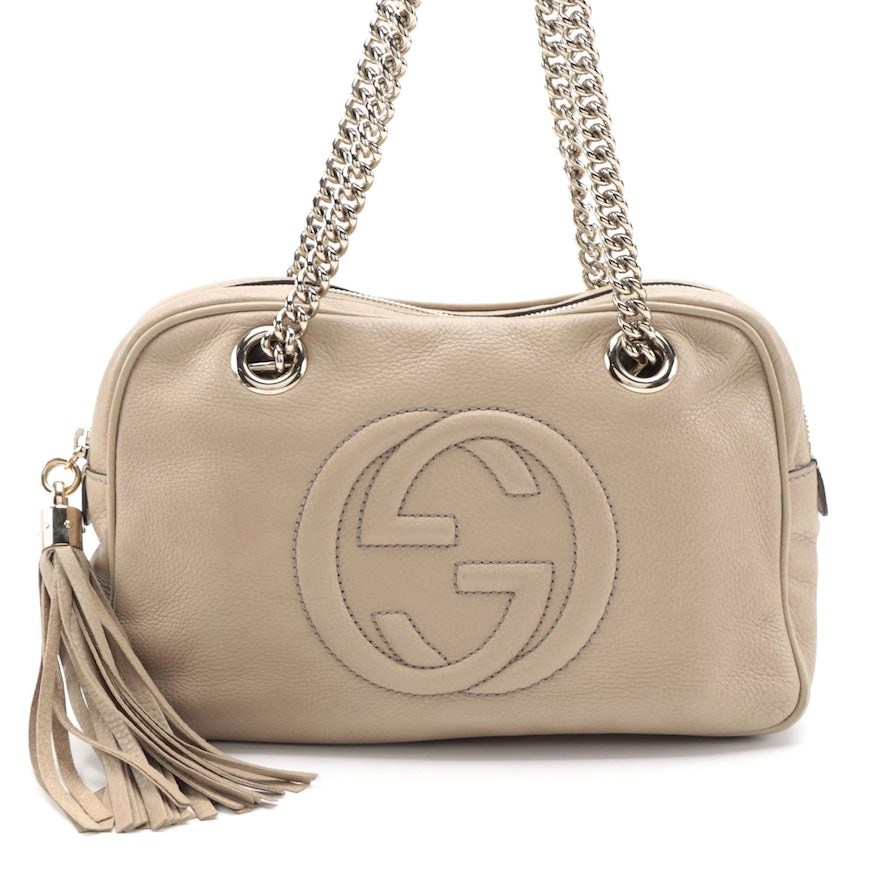 Gucci Soho Pebbled Leather Chain Strap Bag with Tassel Zip Pull