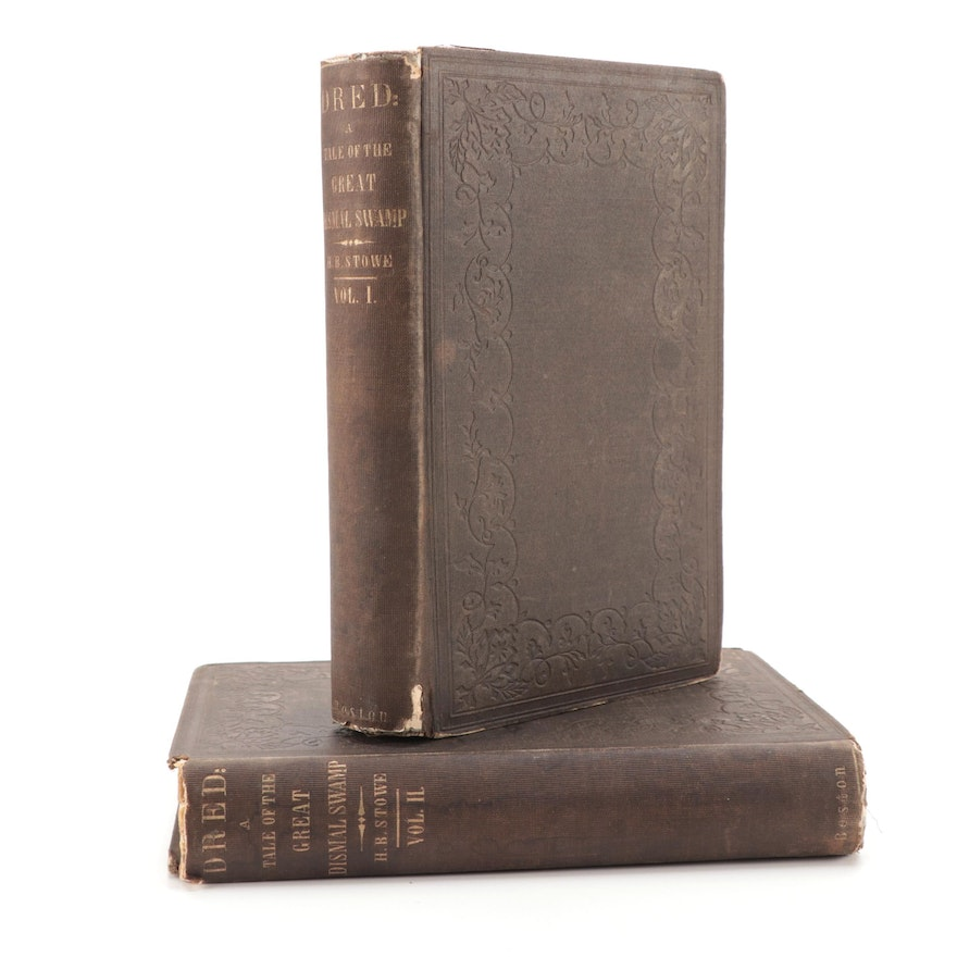 """Early Printing """"Dred"""" Vol. I–II by Harriet Beecher Stowe, 1856 Antique Book"""