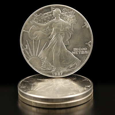 Three American Silver Eagle Bullion Coins, 1987–1988