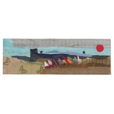Janice Schuler Seascape Mixed Media Textile Collage, 2018