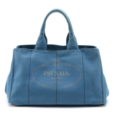 Prada Canapa Blue Canvas Tote Bag