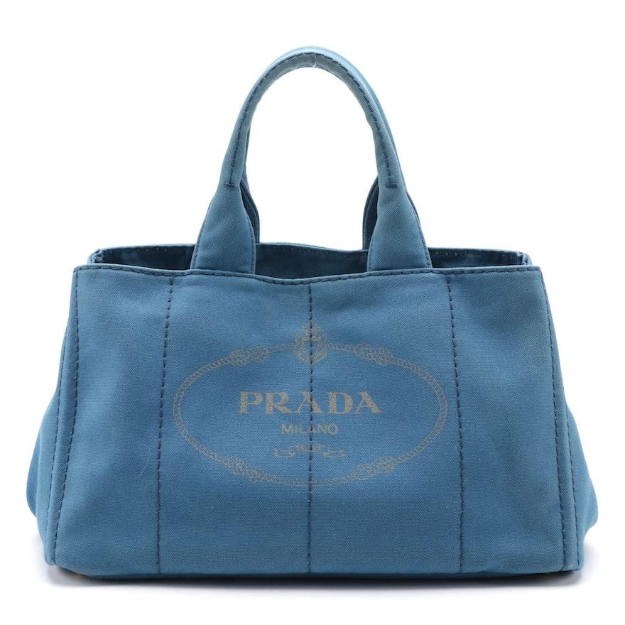 Prada Canapa Blue Canvas Tote Bag
