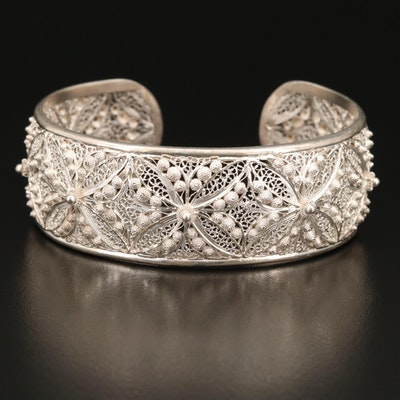 Sterling Silver Cannetille Filigree Cuff