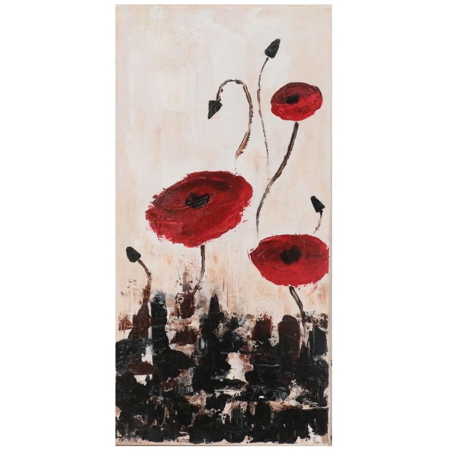 """Karen Warren Abstract Floral Acrylic Painting """"The Garden,"""" 2021"""