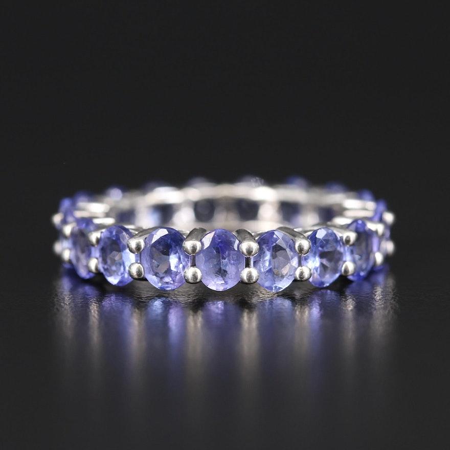 Sterling Tanzanite Eternity Ring