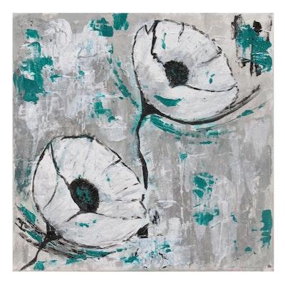 "Karen Warren Floral Acrylic Painting ""Contemporary Series,"" 2021"