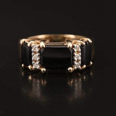 14K Black Onyx and Diamond Ring