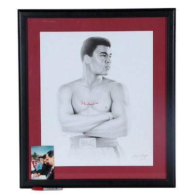 Muhammad Ali Signed Portrait Print, Framed