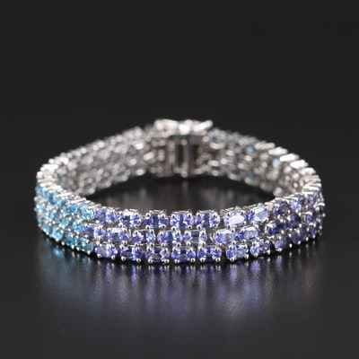 Sterling Aquamarine, Tanzanite and Topaz Triple Row Gradient Bracelet