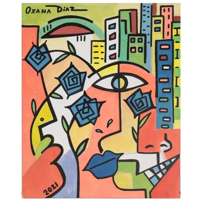 "Oxana Diaz Abstract Acrylic Painting ""City Flowers,"" 2021"