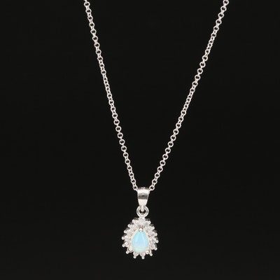 Sterling Silver Opal and Cubic Zirconia Slide Pendant Necklace