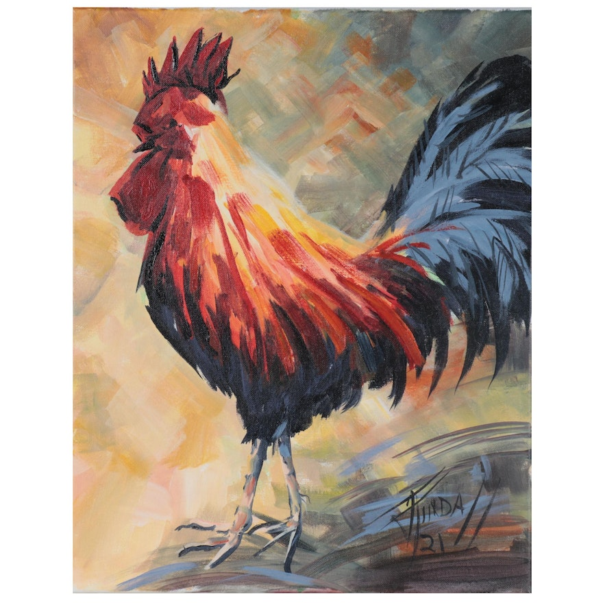 Jim Tindall Acrylic Painting of Rooster, 2021