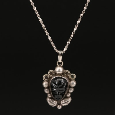 Mexican 900 Silver Pendant on Italian Sterling Silver Chain Necklace