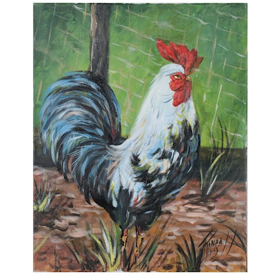 Jim Tindall Acrylic Painting of Rooster, 2019