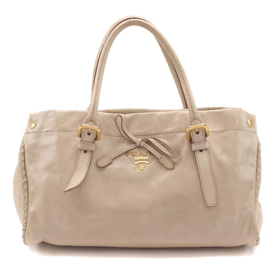 Prada Top Handle Bag in Beige Leather