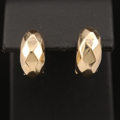 14K Half Hoop Earrings with Diamond Pattern