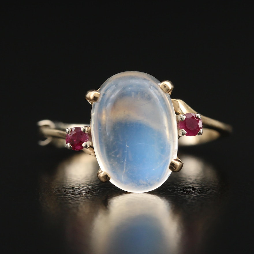Vintage 14K Moonstone and Ruby Ring