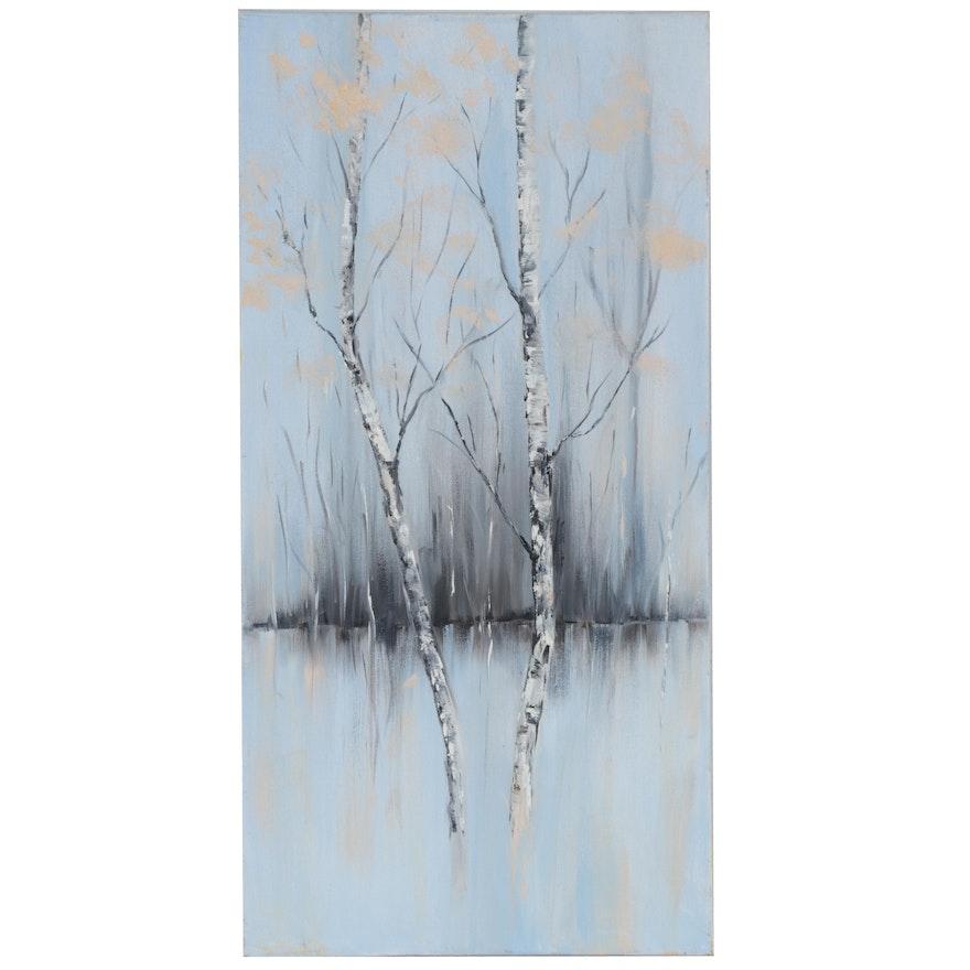 """Sanna Landscape Oil Painting """"Aspen #3,"""" 2014"""