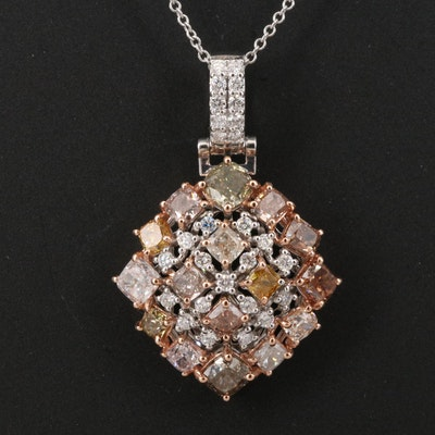 18K Two-Tone 3.27 CTW Diamond Pendant Necklace with GIA Report