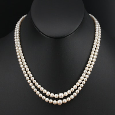 Vintage Mikimoto Pearl Double Strand Necklace