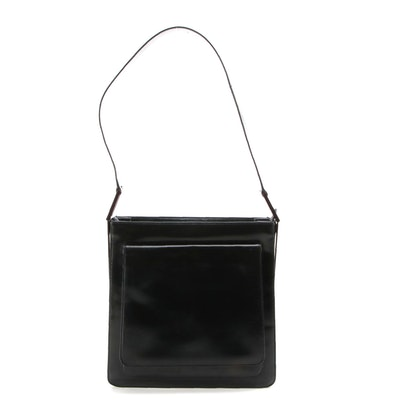 Gucci Black Glazed Leather Shoulder Bag