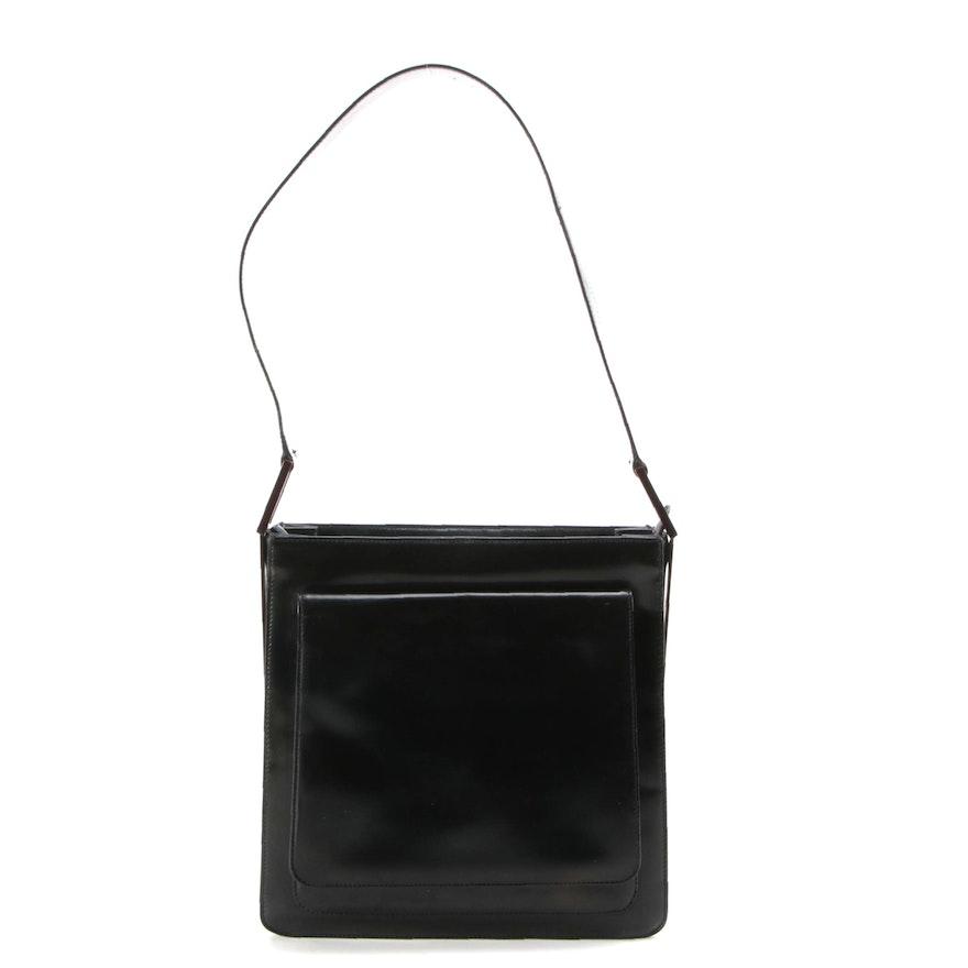 Gucci Black Glazed Leather Shoulder Bag