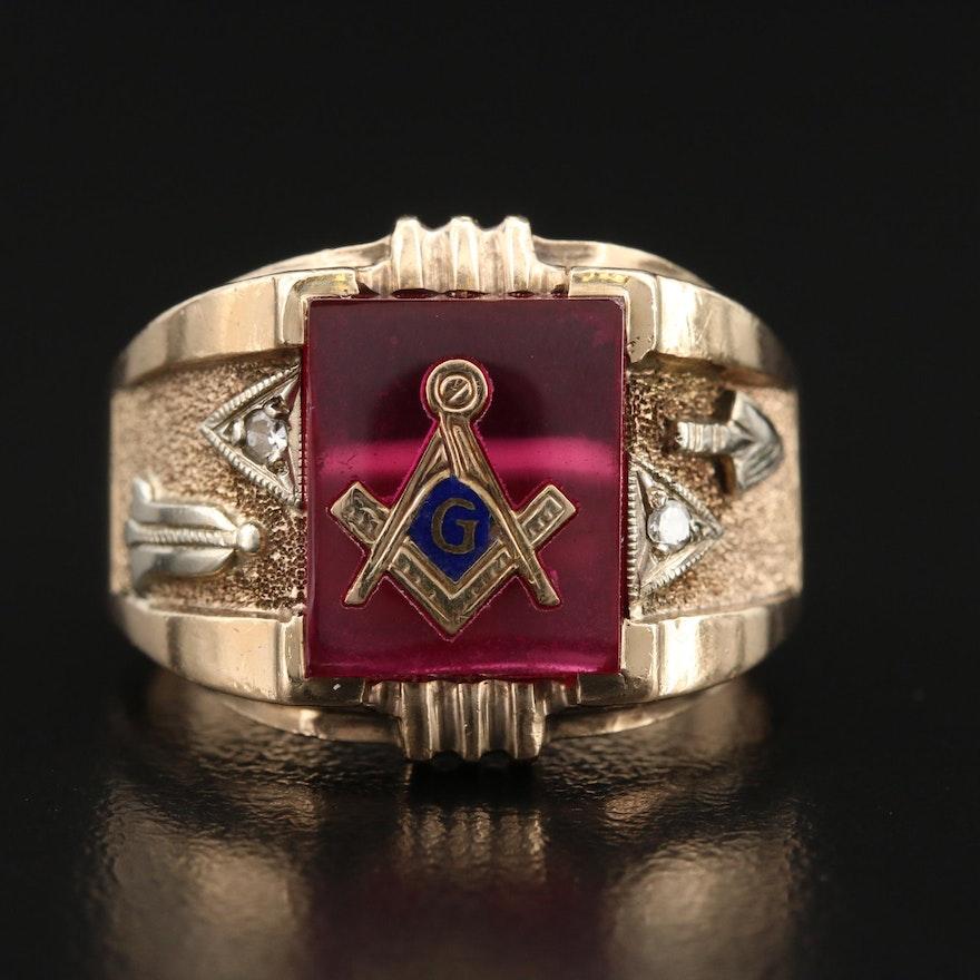 Vintage 10K Ruby and Diamond Masonic Ring