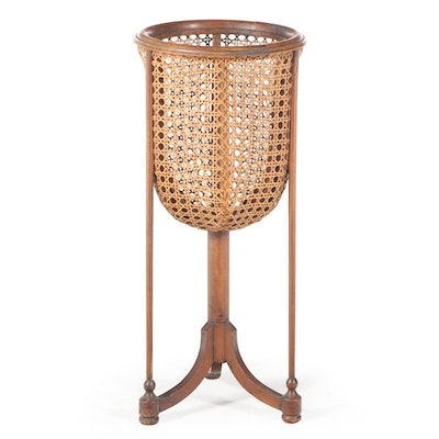 Beech Wood and Caned Jardinière-on-Stand, 20th Century