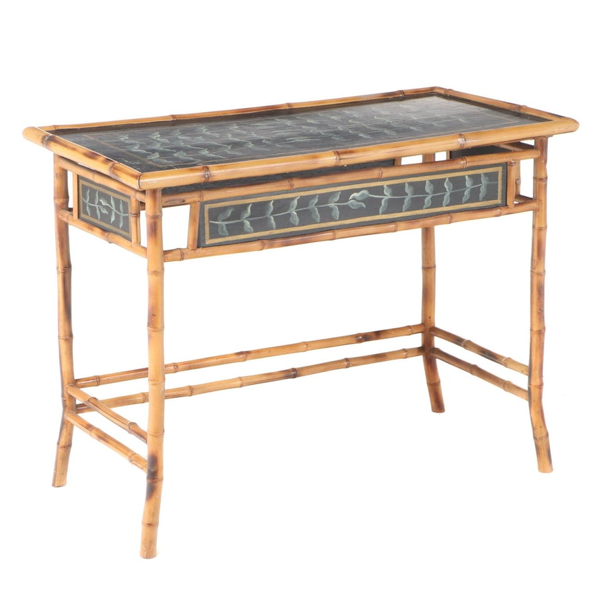 Indonesian Paint-Decorated Wood and Bamboo Console Table