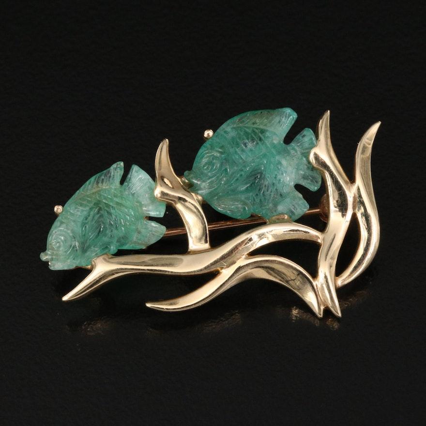 14K Emerald Fish Converter Brooch
