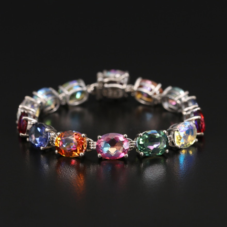 Sterling Mystic Quartz Line Bracelet