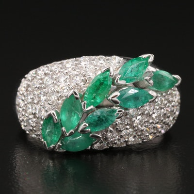 EFFY 14K Emerald and Pavé Diamond Ring