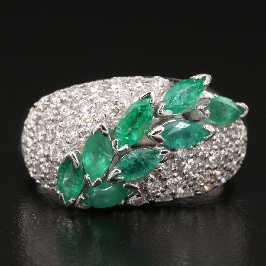 EFFY 14K Emerald and Pavé Diamond Ring