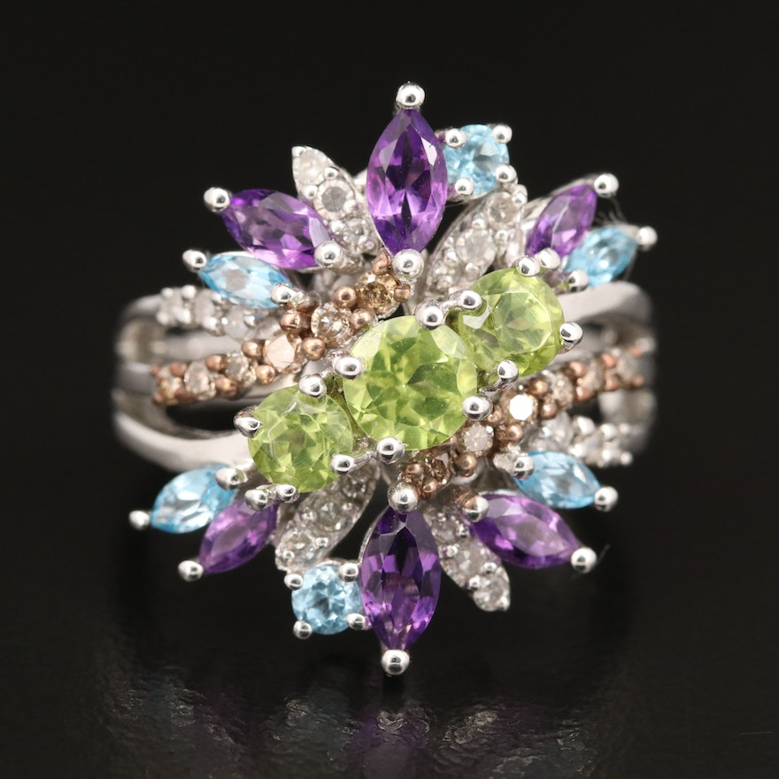Sterling Silver Diamond and Gemstone Cluster Ring