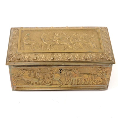 Erhard & Söhne Gilt Metal Humidor with Classical Freezes,  Early 20th Century