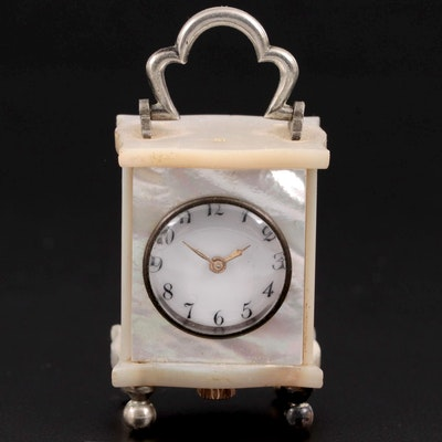 Victorian Miniature Mother-of-Pearl Cased Travel Clock in Fitted Leather Case