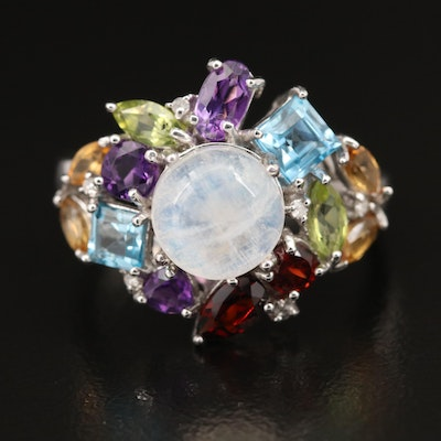 Sterling Silver Rainbow Moonstone and Gemstone Ring