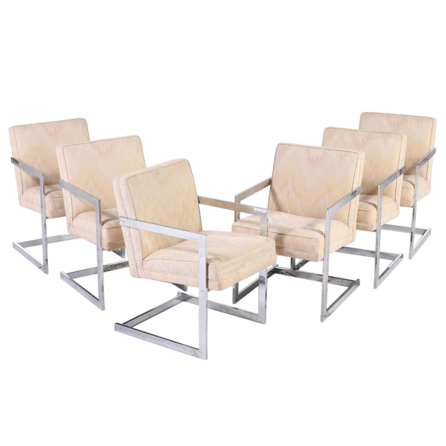 Mid Century Modern Upholstered Chrome Cantilever Armchairs, Mid-20th Century