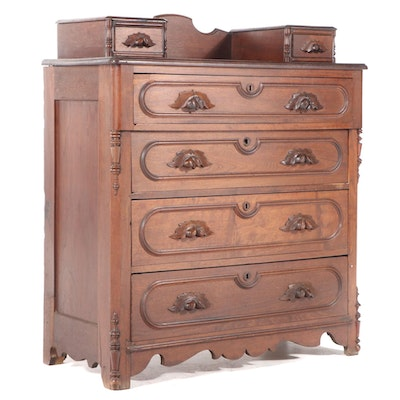 Victorian Walnut Six-Drawer Chest, Late 19th Century
