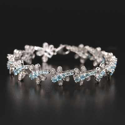 Sterling Apatite and Topaz Dragonfly Bracelet