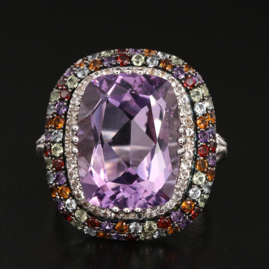 Sterling Amethyst and Gemstone Halo Ring